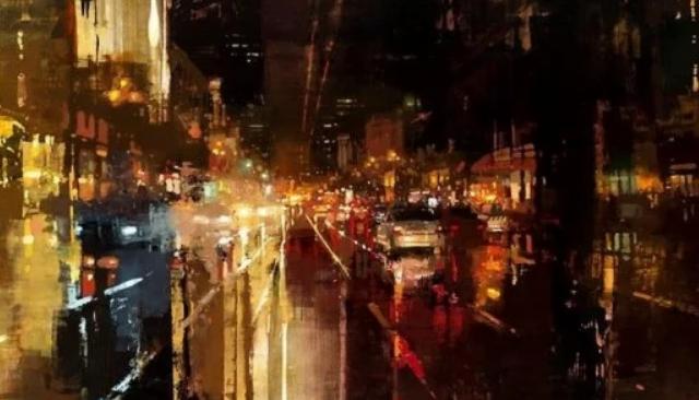 Город засыпает: ночные урбанистические пейзажи в картинах американского художника