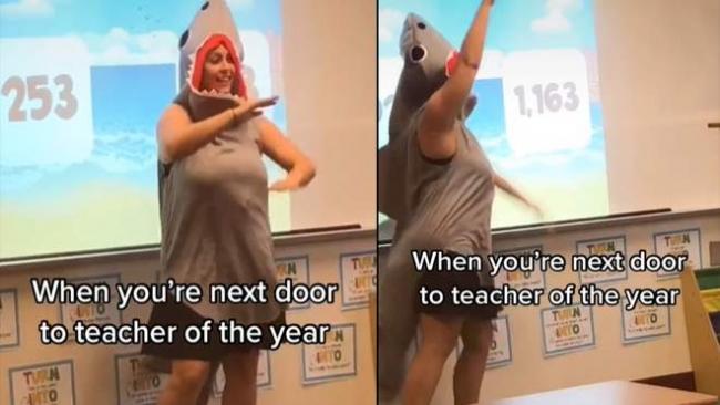 Учительница провела онлайн-урок для учеников в костюме акулы